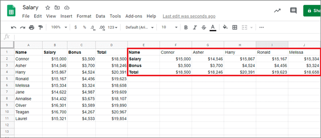 google sheets switch rows and columns