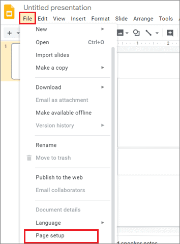 Select File and click on Page setup