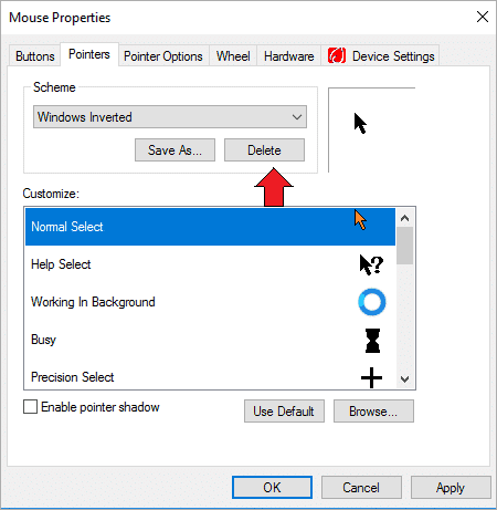 : Identify the Delete option for newly selected Mouse cursor scheme
