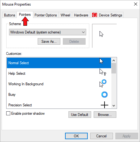 Select the option of Pointers after you have opened Mouse Properties