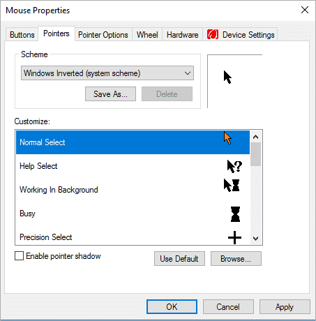 Choose the design for your Mouse Pointer