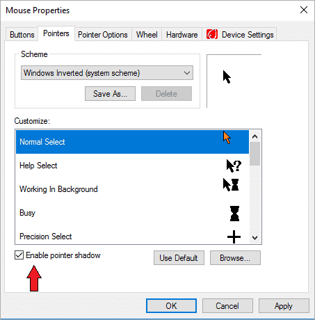 Click on Enable Pointer Shadow to make it operational