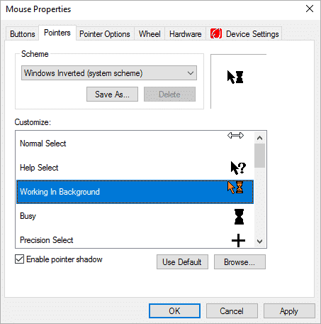 Selecting the option of Mouse Pointer working in the background