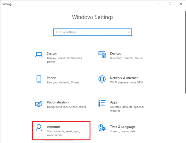 Open the Accounts tab from the Settings menu when windows 10 calculator not working