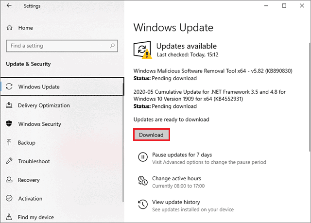 Click on Download to update Windows 10