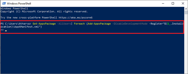 Paste the command given above and press Enter
