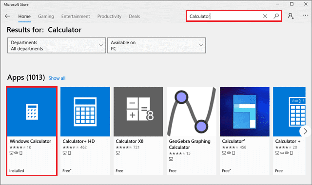 Search Calculator in the search bar and select the one that is installed in your PC