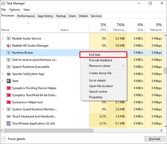 Search for the Runtime Broker process, right-click on it and select End task when windows 10 calculator not working