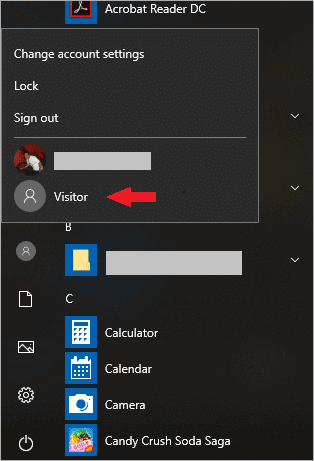 using the guest account in windows 10