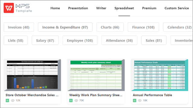 wps excel templates