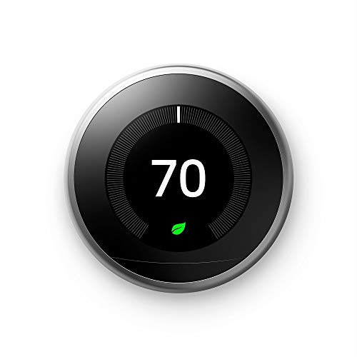 Google T3007ES Nest Learning Thermostat 3rd Generation, Stainless Steel,...