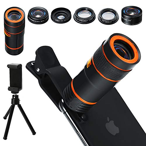 6-in-1 Cell Phone Camera Lens Kit, 12x Telephoto Zoom Lens, 0.62x Wide...