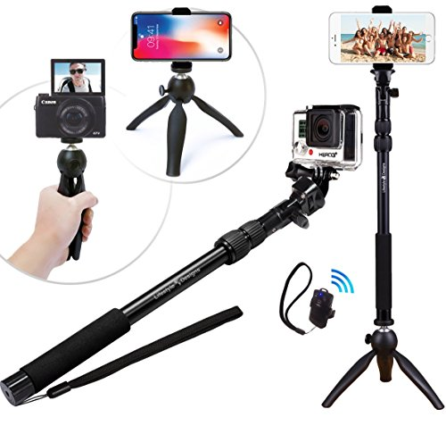 Premium HD Rugged 4-in-1 Selfie Stick Tripod Stand Kit + Bluetooth Remote...