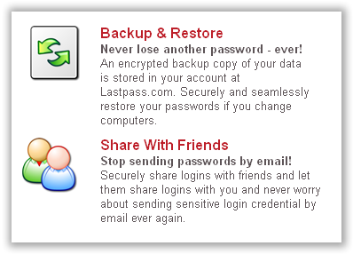 Backup Passwords and Share with Friends
