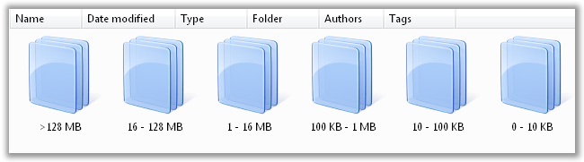 Data Stacked by Size in Windows Vista