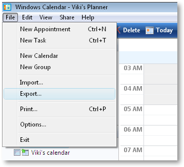 Export and save calendar