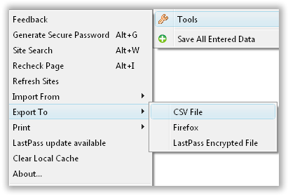 LastPass Data Export