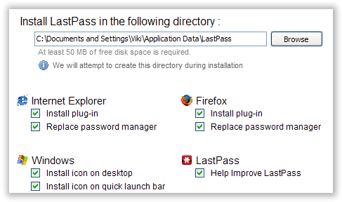 LastPass Insalltion Options