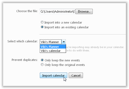 Select the Calendar where you want to import the Calendar