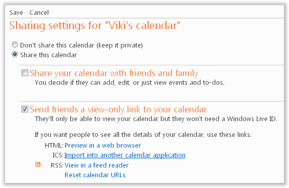 Send View only Link for Calendar