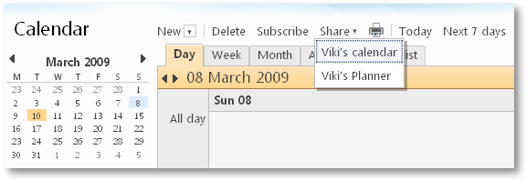 Share Windows Live Calendar