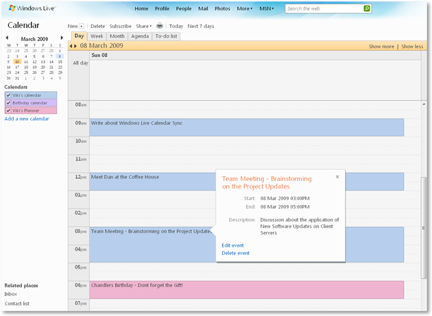 Windows Live Calendar - Day View