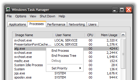 Windows XP Task Manager