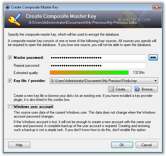 Create Master Key for KeePass