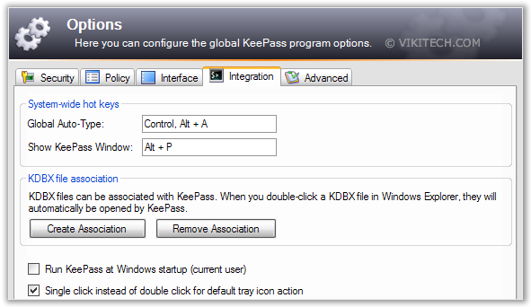 KeePass Shortcut Options
