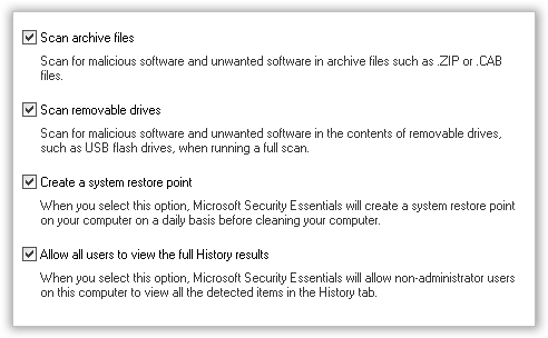 Advanced Options for Security Essentials(0)