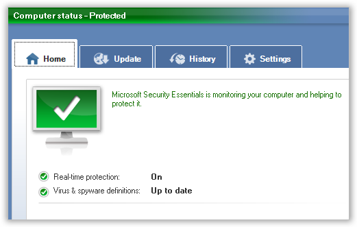 Microsoft Security Essentials Main Screen(0)
