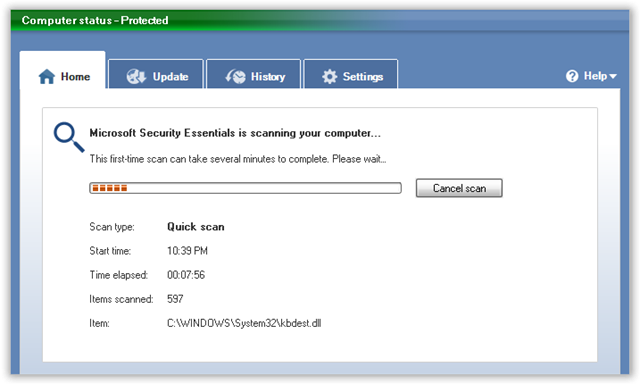 Microsoft Security Essentials Scan(0)