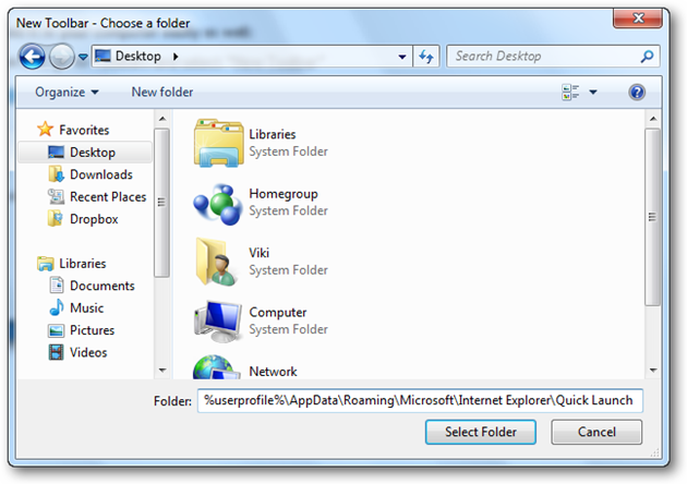 Add Quick Launch Toolbar To Windows 7
