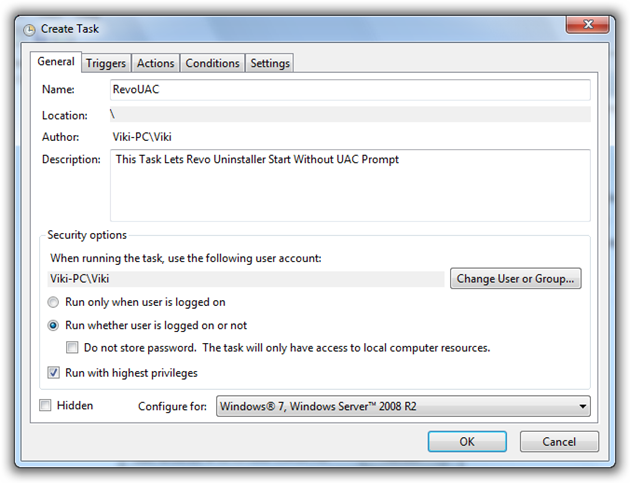 Create Task for a Program to avoid UAC Prompt