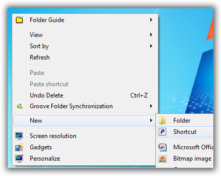 Create a New Short cut on Desktop