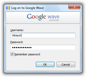 Google Wave Notifier - Login Window