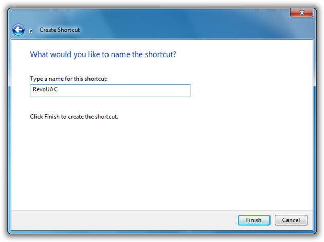 Next - Give a Name to the New Shortcut