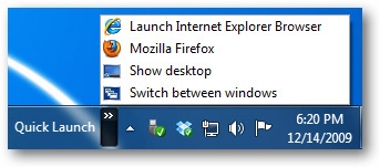 Quick Launch Toolbar in Win 7 Taskbar