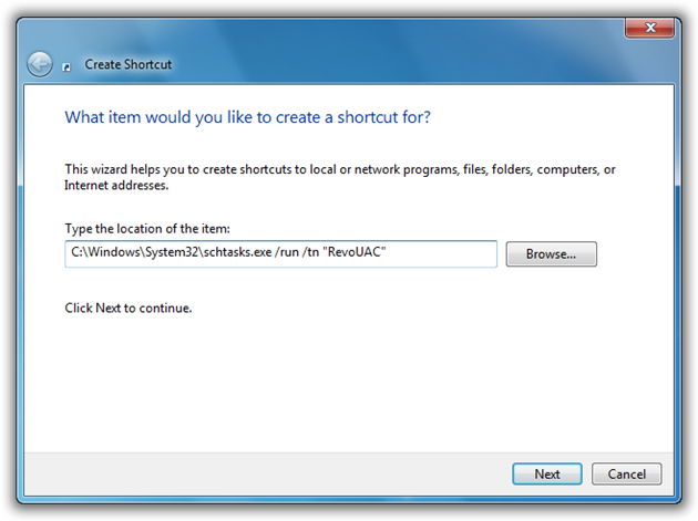 Type the Execution command for the task in Shortcut Window
