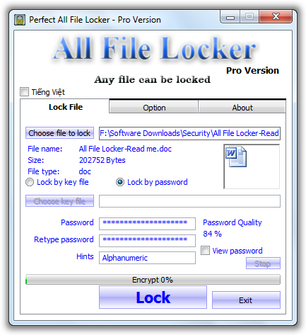 All File Locker Pro Main WIndow