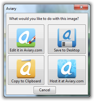 Various Options to save the Screenshots via Aviary