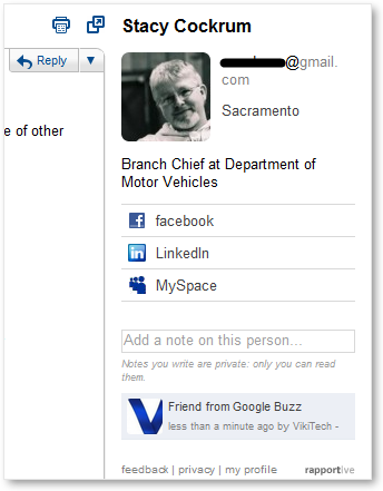 Contact Information from Rapportive in Gmail
