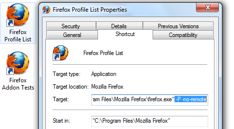 Firefox Profile Shortcut for Profile List