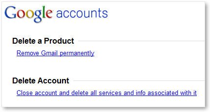 Google Account Delete Options - EMail or Entire Account