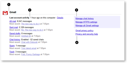 Google Dashboard - Service Sections