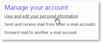Manage Personal Information Hotmail