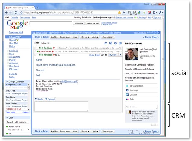 Rapportive Social CRM Features