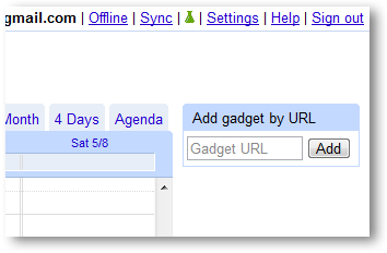Add Gadget by Url in Google Calendar