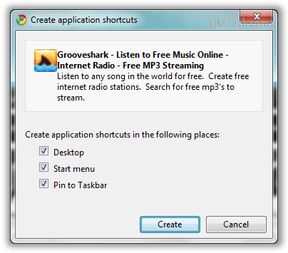 Grooveshark Application Shortcut - © TechNorms