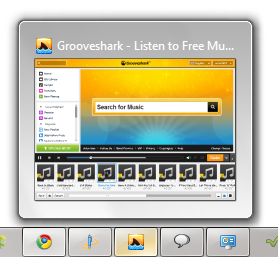 Grooveshark in Task Bar - © TechNorms